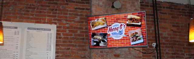 harry g's digital sign, digital signage, digital restaurant sign, menu boards, digital menu boards