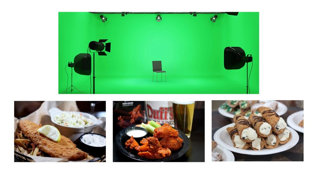 content creation, food photography, green screen, videography