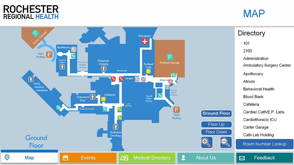 wayfinding, healthcare wayfinding, healthcare digital mapping, digital wayfinder, 2D wayfinder