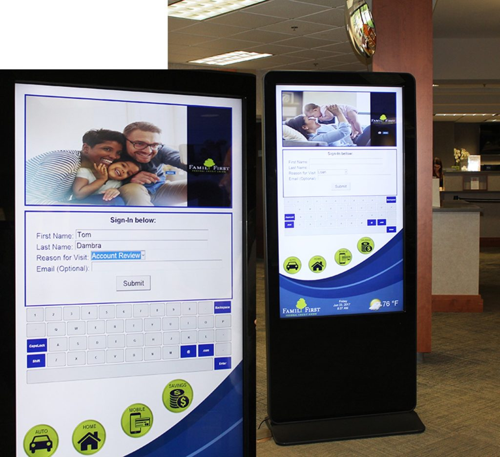 Bank interactive kiosk, interactive kiosk, check in system, bank check-in kiosk