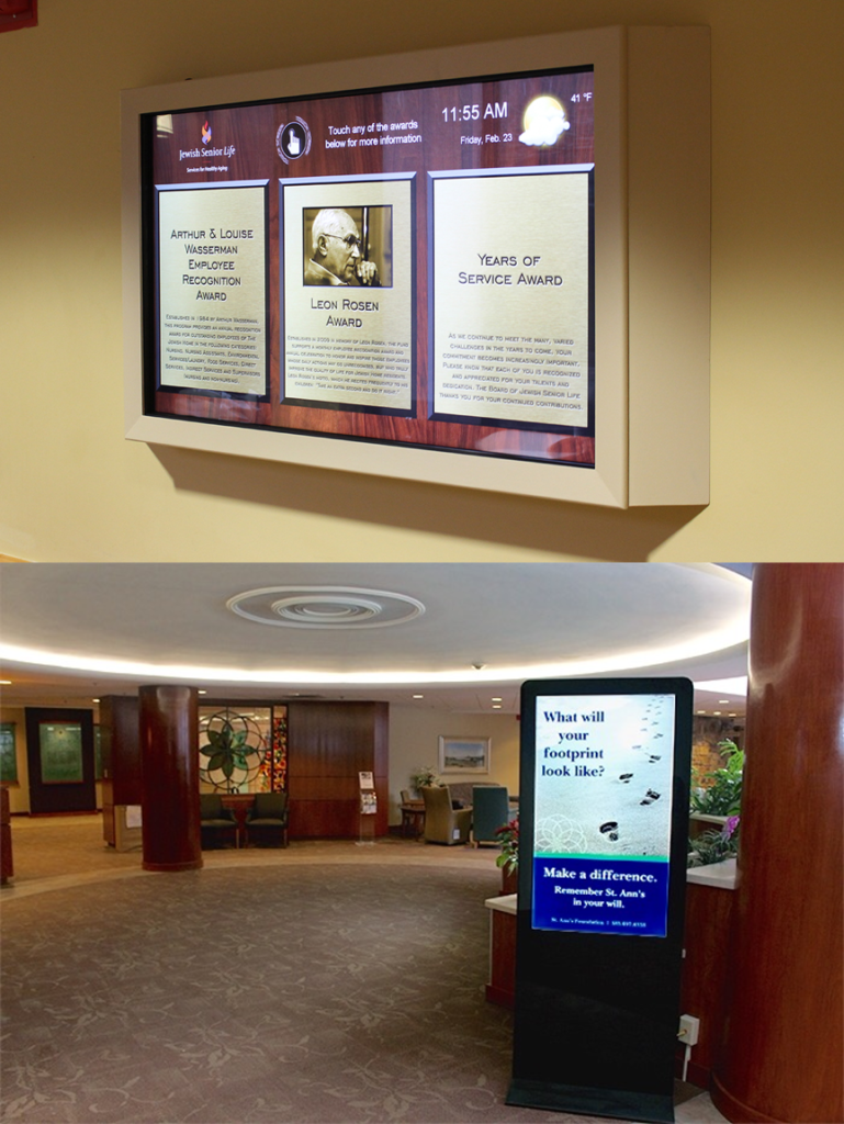 Interactive digital signage, senior living digital signage, nursing home digital sign, nursing home interactive sign, nursing home kiosk, nursing home touchscreen