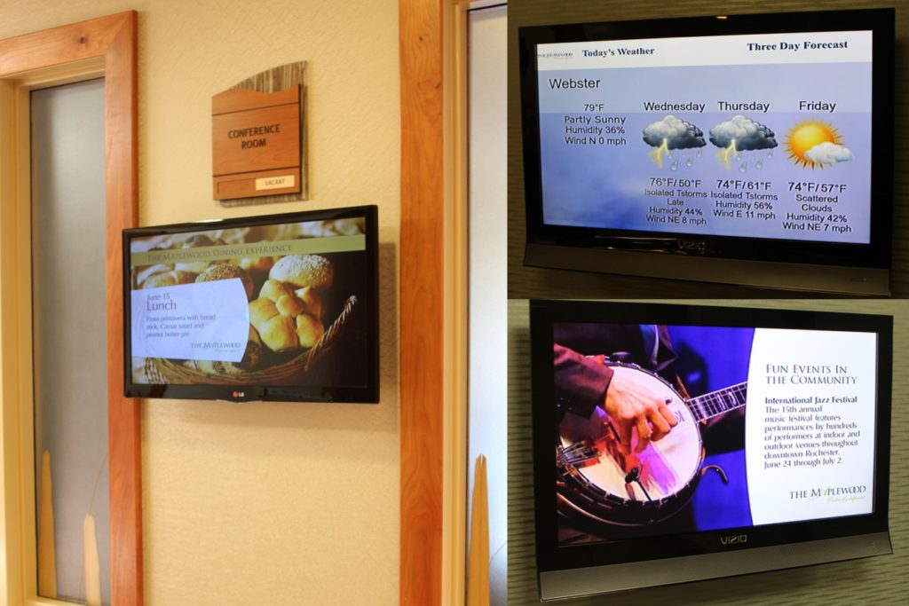 senior living digital signage, nursing home digital signage, nursing home menu board, nursing home digital menu board, senior living events calendar, senior living digital calendar