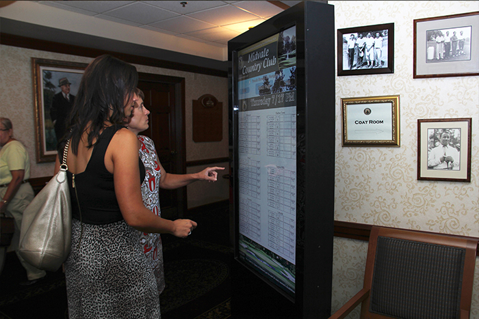 Country Club Digital Signage, country club interactive kiosk, interactive score board