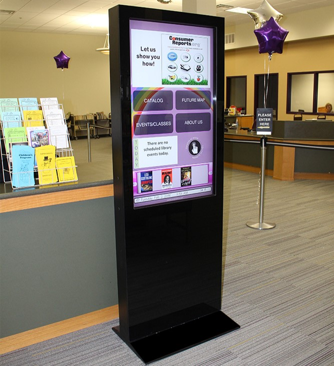 Interactive kiosk, touchscreen kiosk