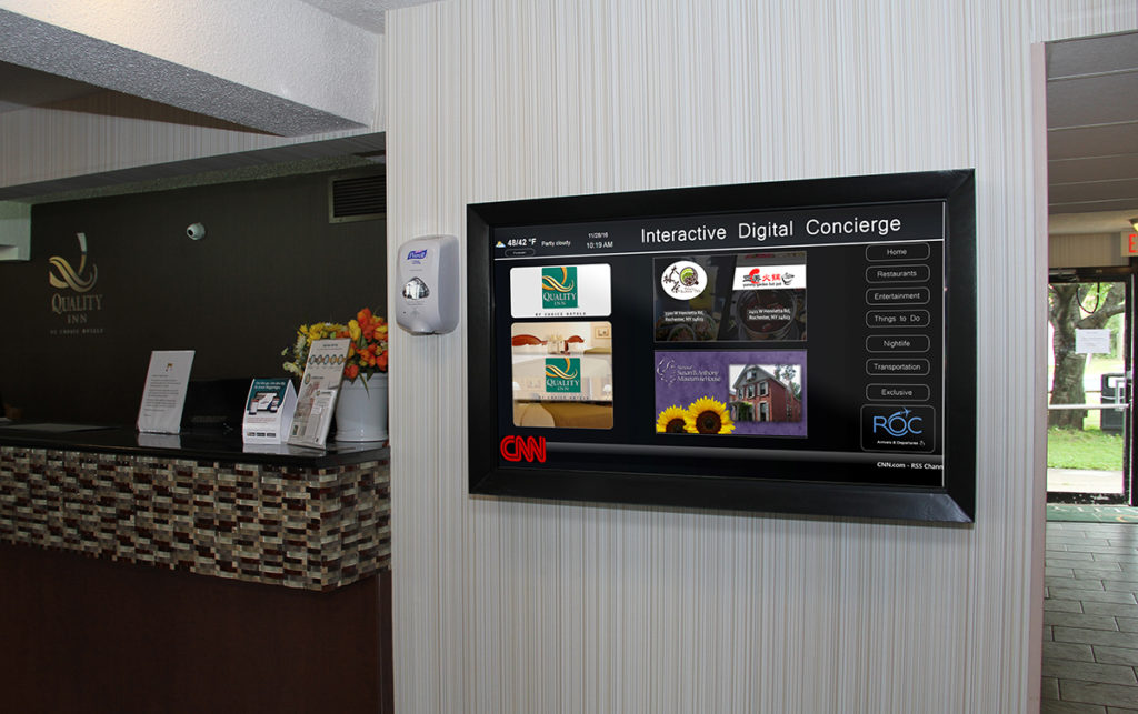 hotel touchscreen, hotel kiosk, hotel digital signage, hotel screen, hotel concierge board, hotel digital concierge