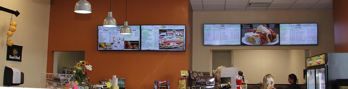 Restaurant digital signage, digital menu boards