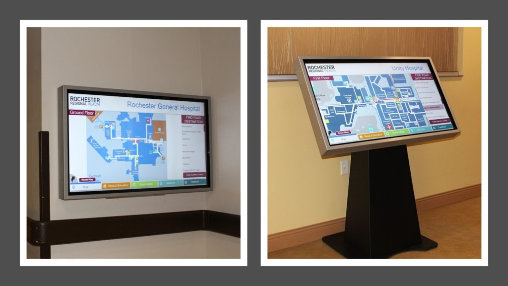 hospital wayfinding, hospital maps, hospital digital mapping, hospital touchscreen map