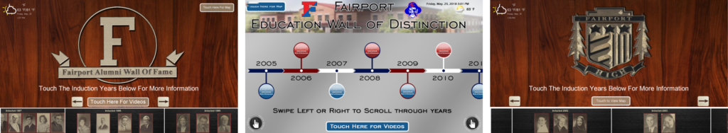 touchscreen, interactive wall of fame, wall of fame system, hall of fame system, replacing plaques, replacing high school plaques, high school digital signage