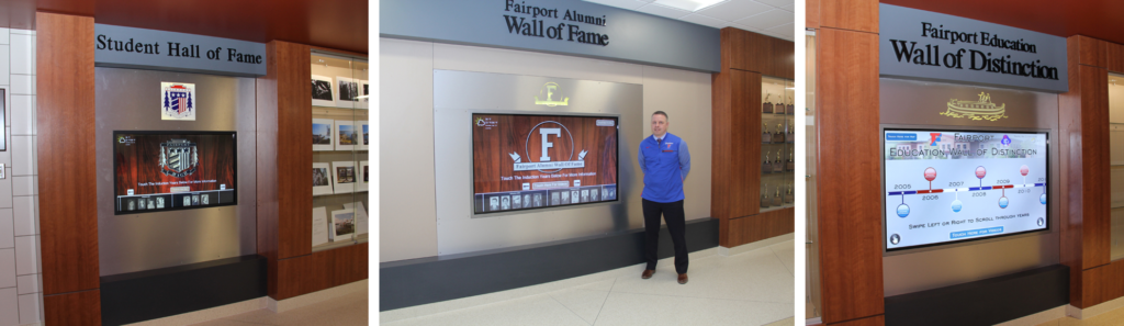 touchscreen wall of fame, recognition display, touchscreen recognition, plaque update, high school digital signage, school digital signage, education digital signage, digital signage