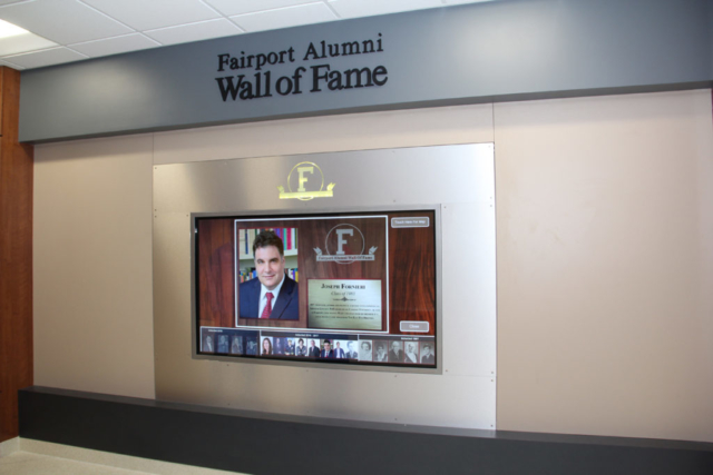 Fairport high school wall of fame, high school digital signage, wall of fame