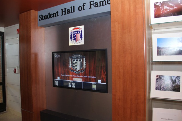 high school digital signage, Fairport high school digital signage, Fairport high school wall of fame, touchscreen wall of fame