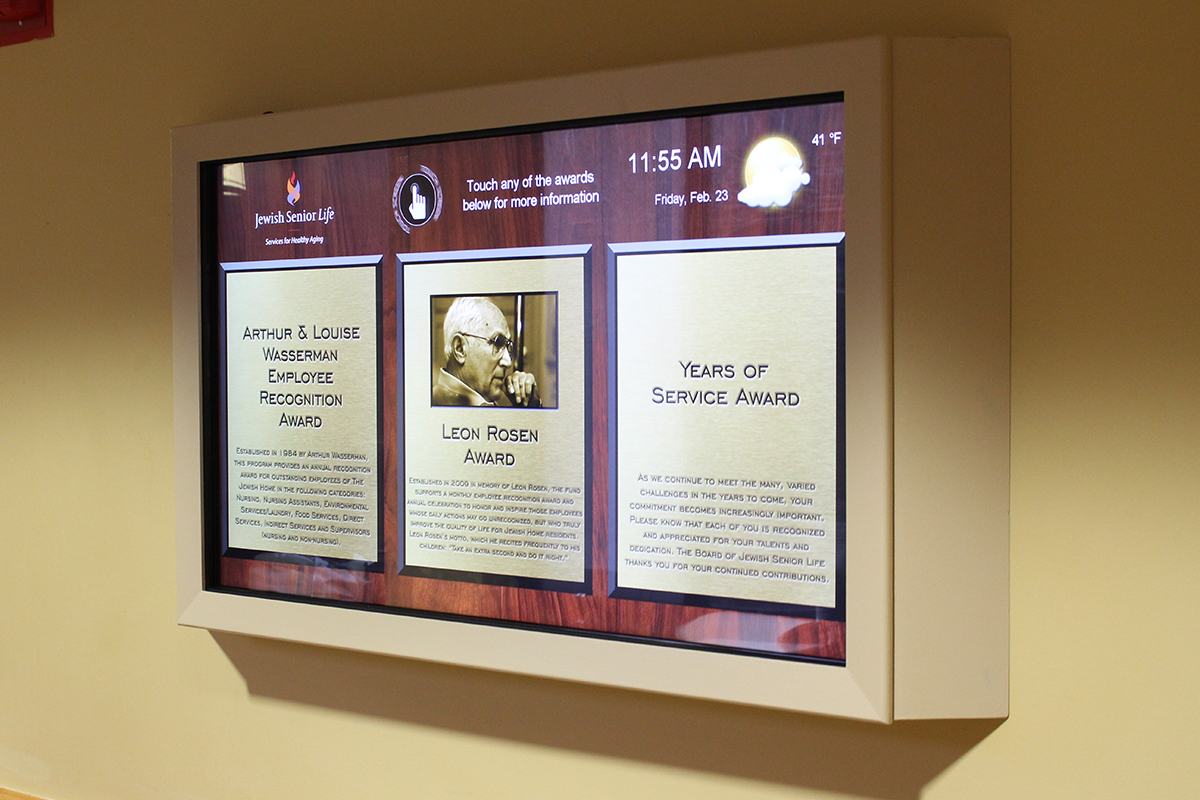 Jewish Senior Living Home Touchscreen Recognition Board
