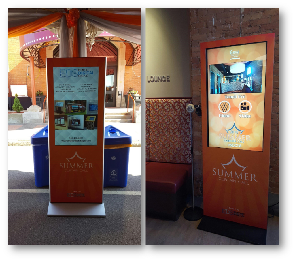 photo booth, video booth, photo and video kiosk, video kiosk, interactive kiosk, kiosk, digital signage, digital kiosk, geva theatre