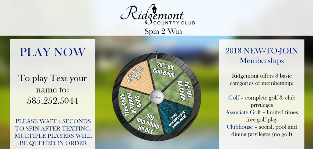 gamification, digital signage game, country club digital signage, country club gamification, country club signage
