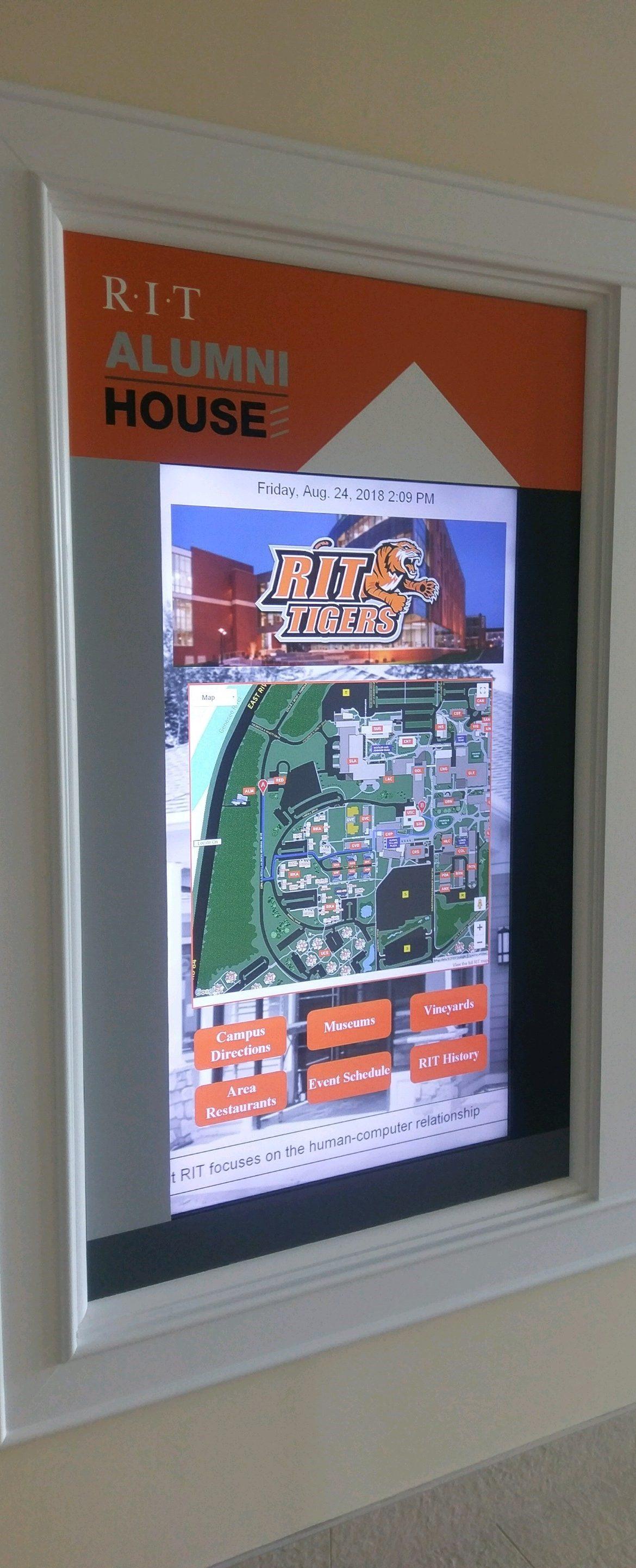 window touchscreen, window touch screen, touchscreen digital signage, campus digital signage