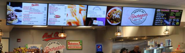 digital menu boards, airport digital signs