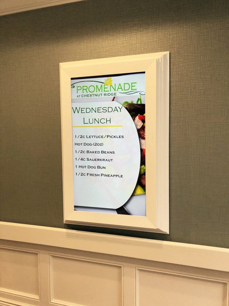 nursing home digital menu board