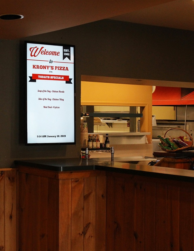 Krony's Pizza Digital Specials Board