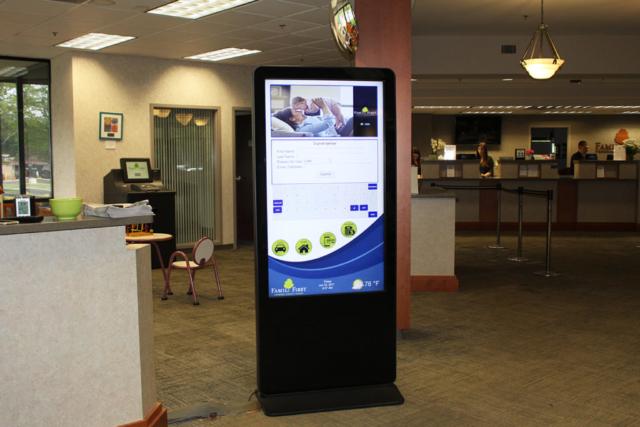 fairport federal credit union digital system, digital bank system, vertical display, digital vertical display, digital vertical bank display