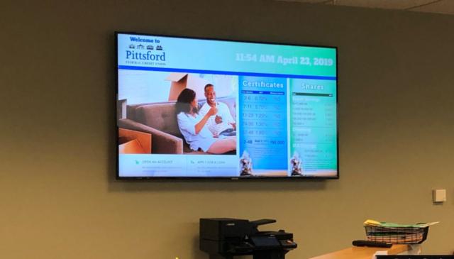 pittsford federal credit union digital board, sectioned digital board, digital screen, digital bank screen