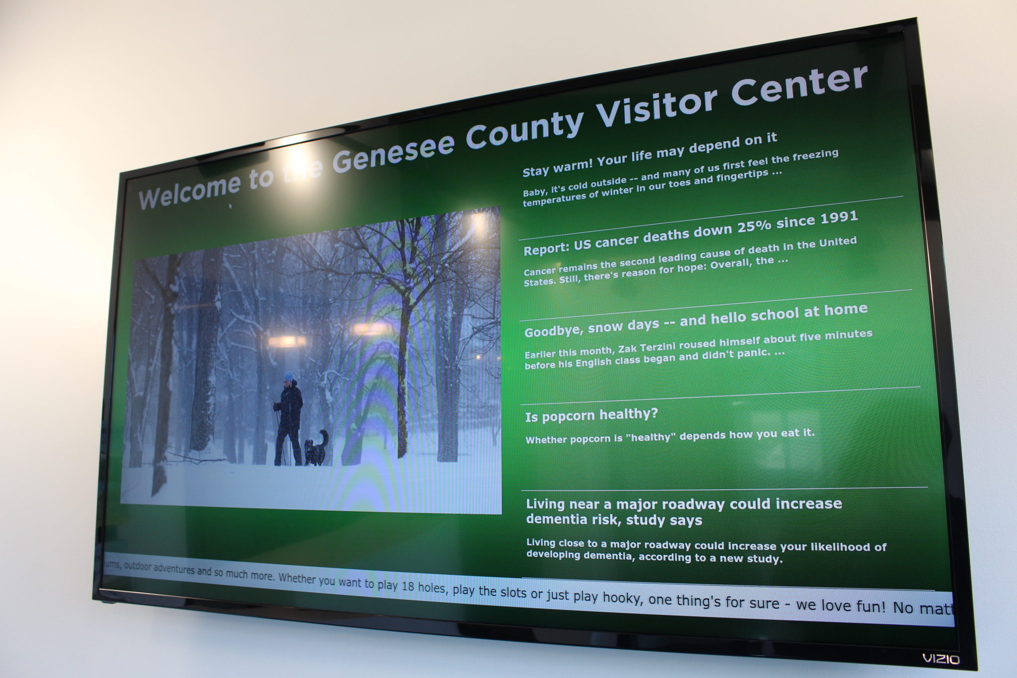genesee county visitors center, genesee county digital display, visitor center digital signage, recreational digital signage