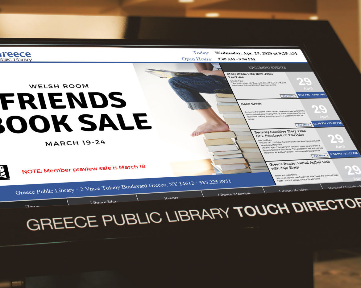 interactive library digital signage, library kiosk, touchscreen library kiosk, interactive library kiosk, library digital signage